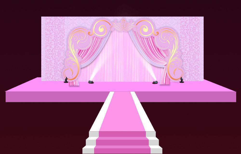 粉色主题婚礼舞台效果图