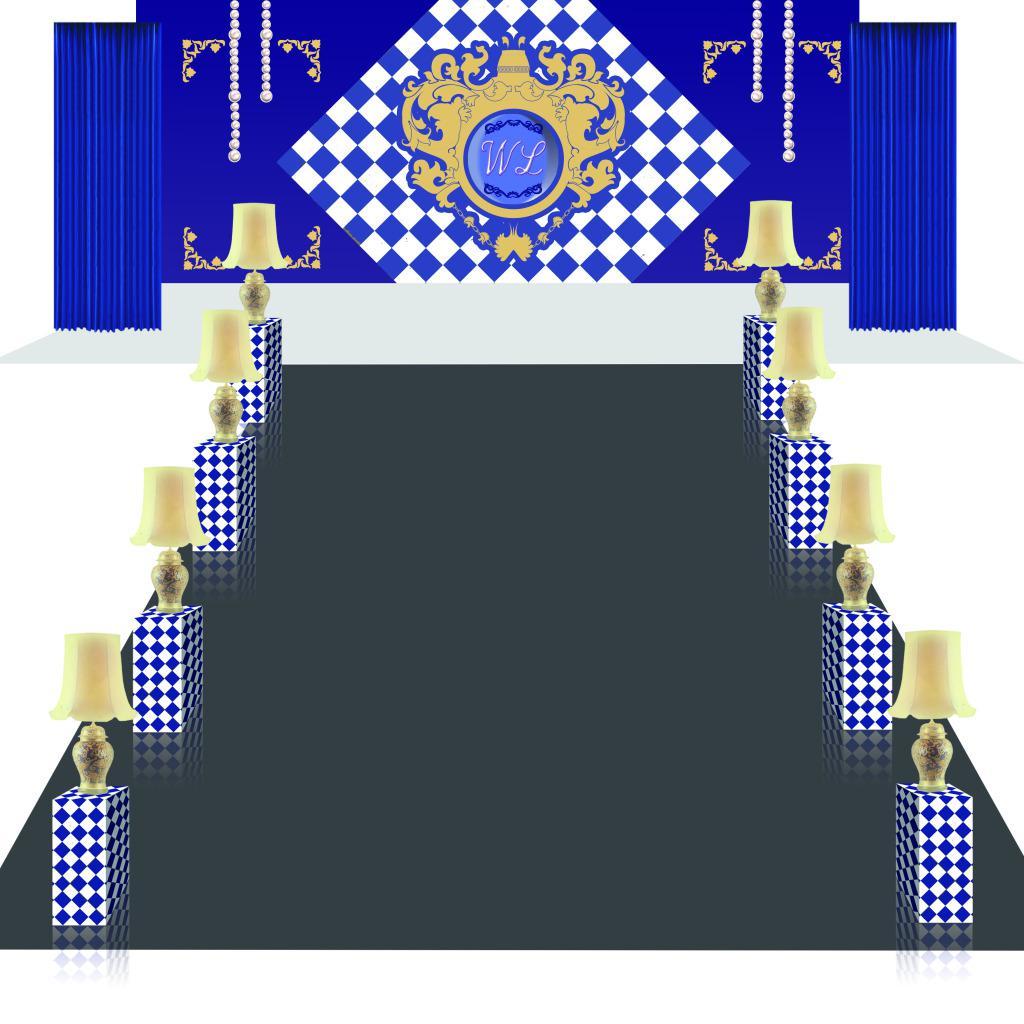 蓝色风格婚礼舞台效果图