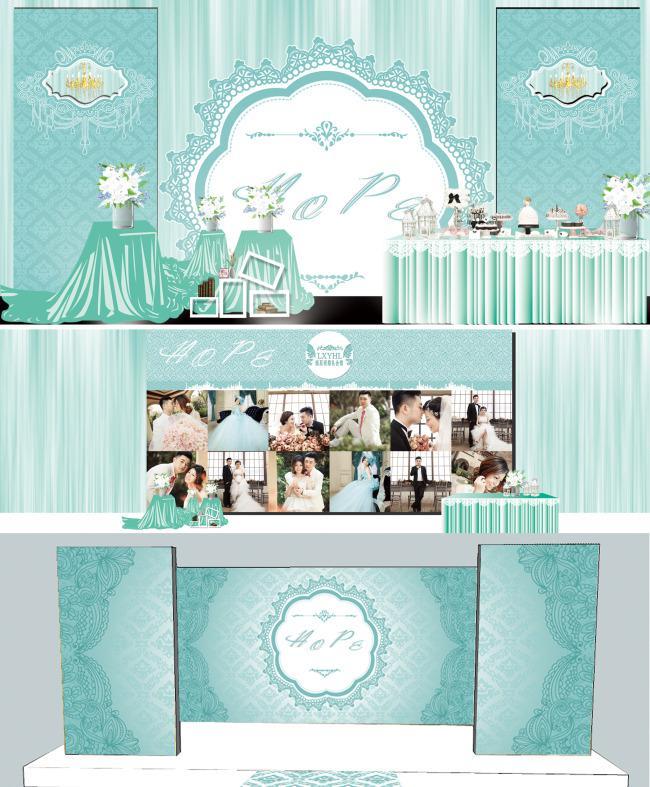 婚礼迎宾区舞台装饰效果图