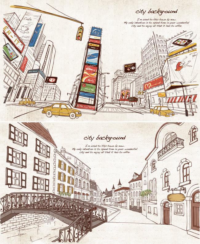 手绘都市街景