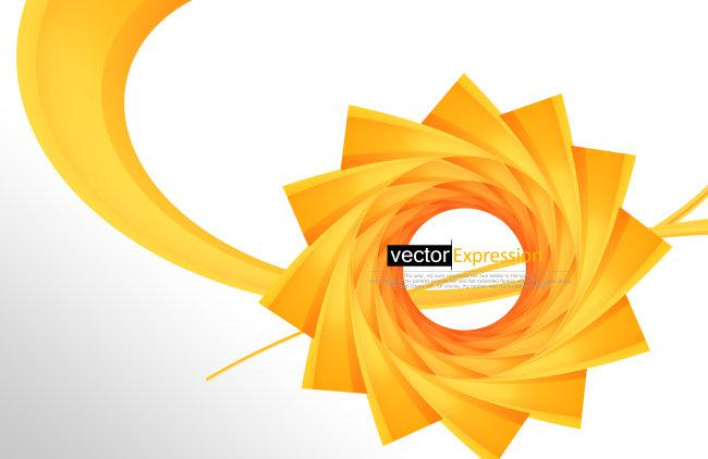 橙黄色规则圆形抽象图