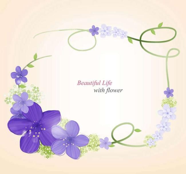 紫色小花藤蔓边框