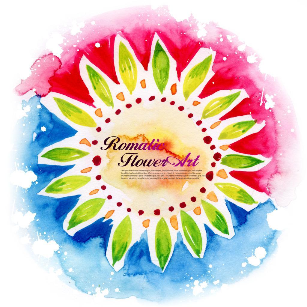 漂亮的花朵圆形插画