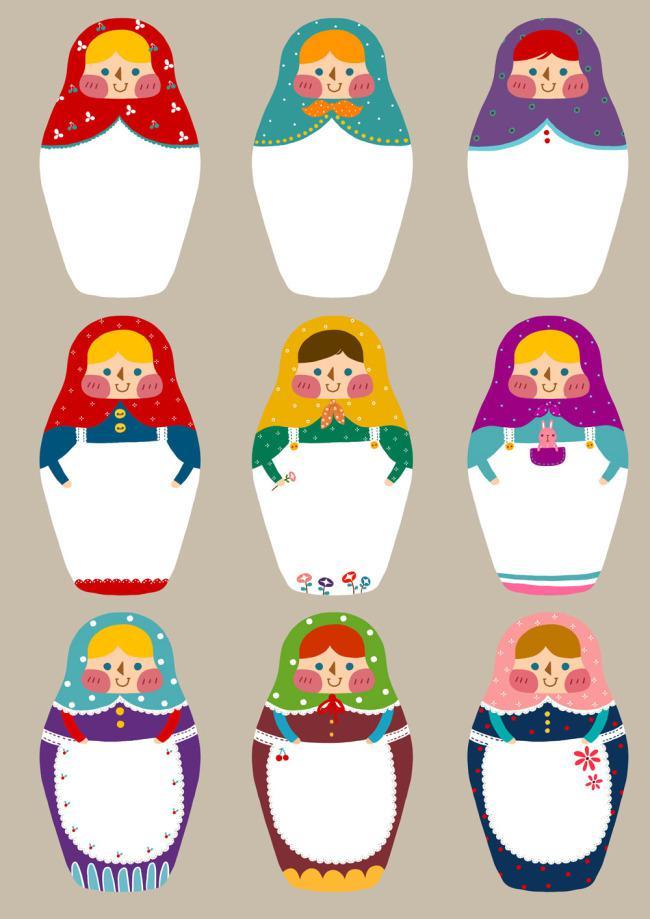 9个女套娃对话框