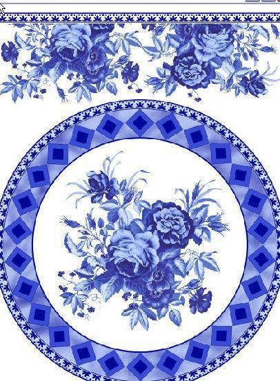 中国风青花瓷花纹设计