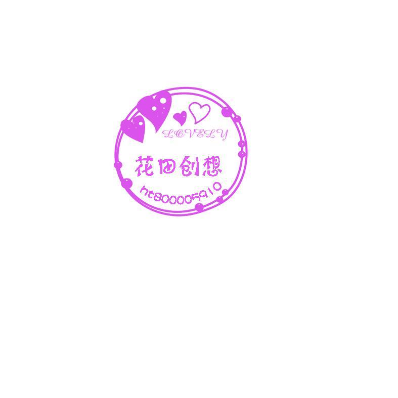 紫色圆形简画心水印
