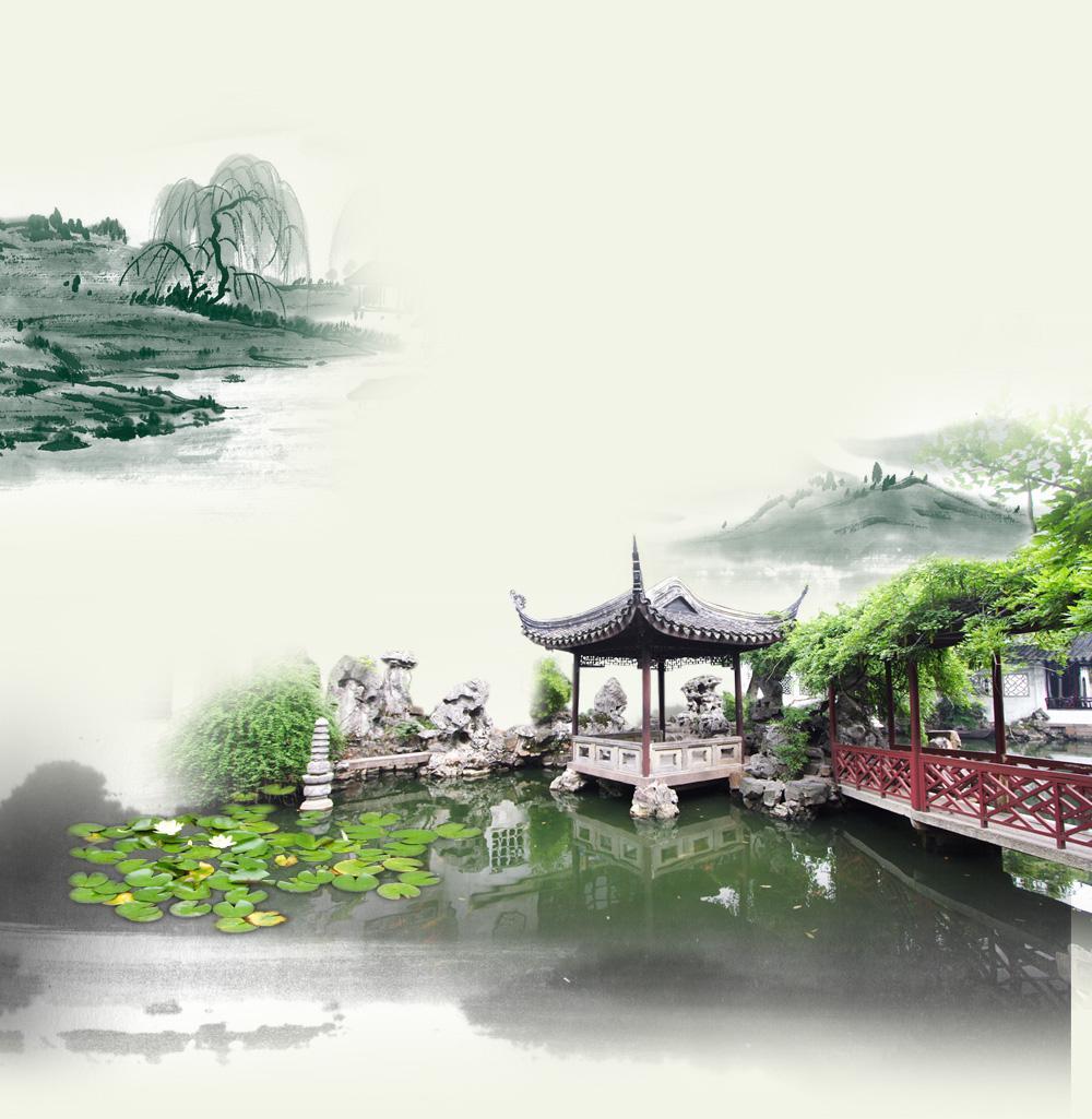 水墨风江南山水园林景观