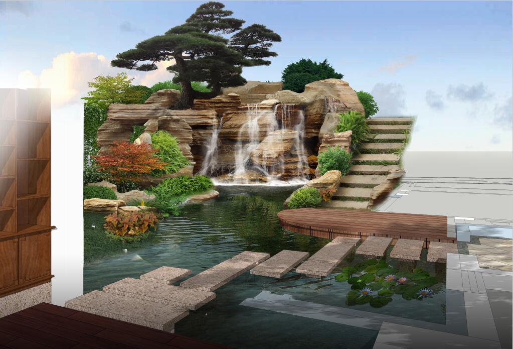 别墅假山鱼池庭院图片