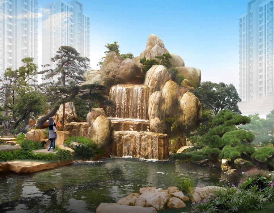 假山流水小池塘设计