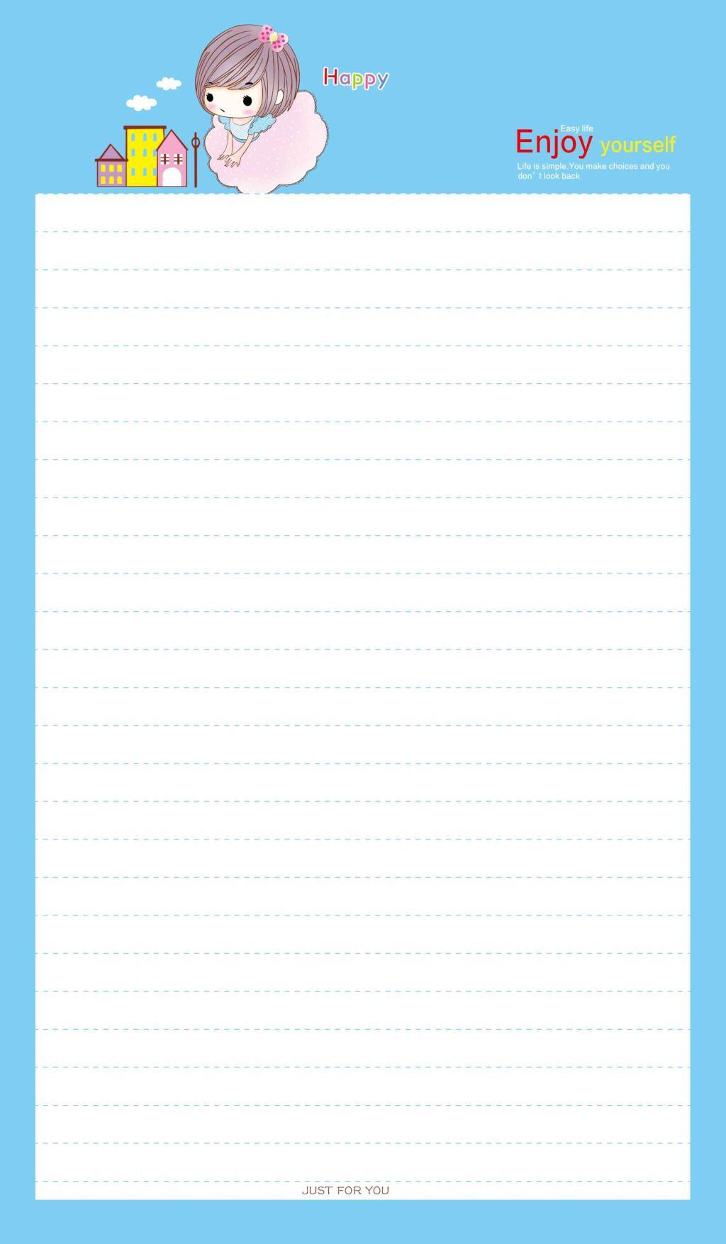 卡通女孩蓝色背景信纸
