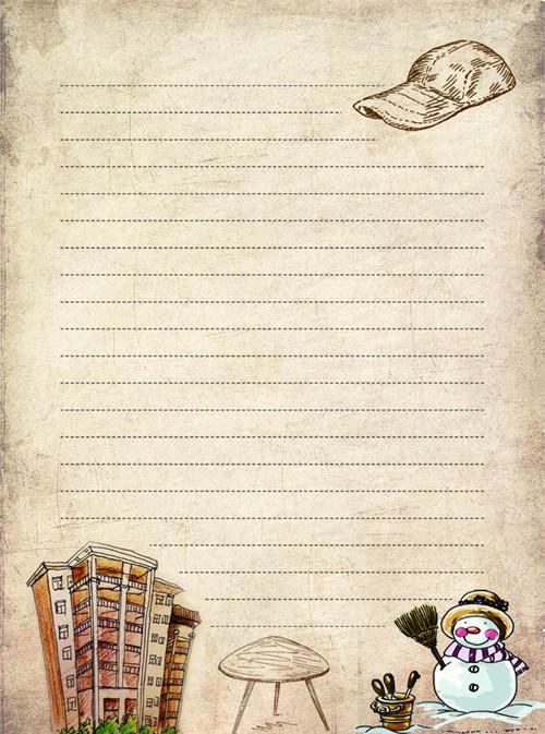 雪人与棒球帽卡通信纸